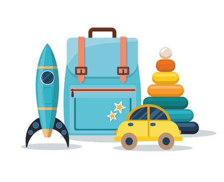 Clorful Kids toys isolated on white background. Backpack, pyramid, car and rocket