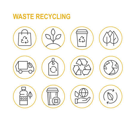 Set of waste recycling icons. Linear ecology signs. Vector