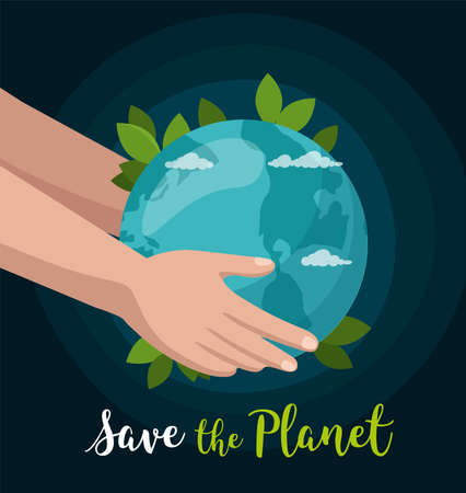 Hand hold earth globe isolated on space. Save the Planet concept. Environment poster. Vector Illusztráció