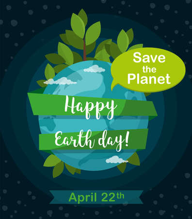 Happy Earth Day greetting card. Earth globe isolated on space background.  April 22. Vector Illustration