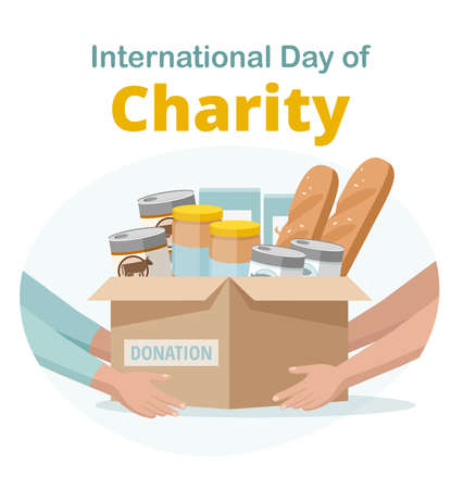 Food and grocery donation. Charity. Woman gives the box with food donation for needy and poor people. Vector illustration