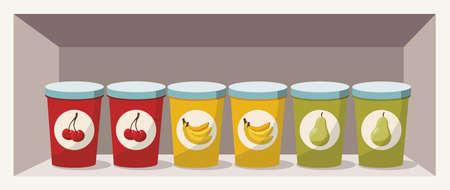 Variation of fruit yoghurts: cherry, banana and pear on a shelf Illusztráció
