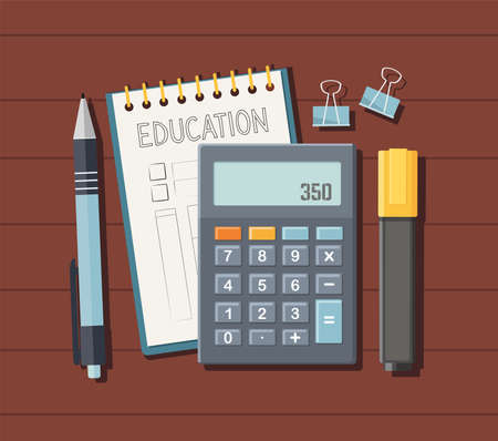 Back to school, education background. Calculator, notepad, marker and pen on the table. Top view.