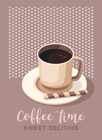 Black coffee in cup. Poster template for coffee shop or cafe. Illusztráció