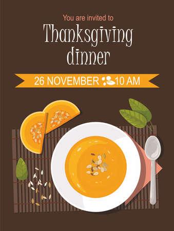 Pumpkin soup with spoon on table. Thanksgiving invitation card. Illusztráció