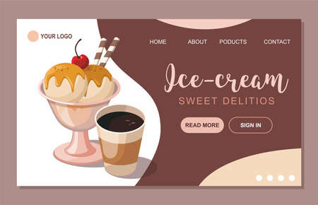 Ice cream and sweet products shop. Website design template Vector illustration for poster, banner. Illusztráció