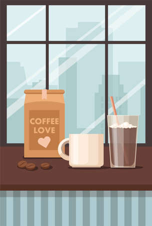 Coffee house inside. Cup, mug and coffee beans in the package. Vector Illustration