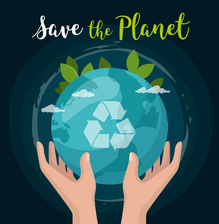 Save the Planet. Hand hold earth globe isolated on space.
