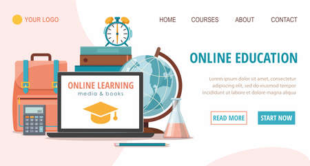 E-learning and education  website template. Back to school, education concept. Vector