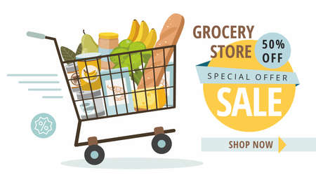 Grocery food store with shopping basket. Promotional sale banner. Vector Illustration
