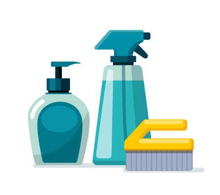 Cleaning supplies. Spray, soap and brush on a white background. Cleaning Services