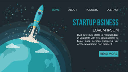 Space rocket flying in space. Night sky in round shape. Web page with copy space for text. Vector