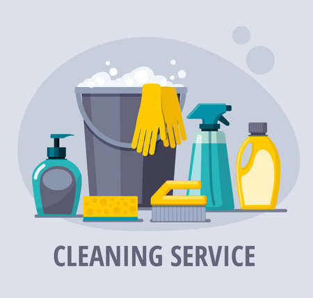 Cleaning supplies. Spray, spong, brush, bucket.  Cleaning service vector web banner. Illusztráció