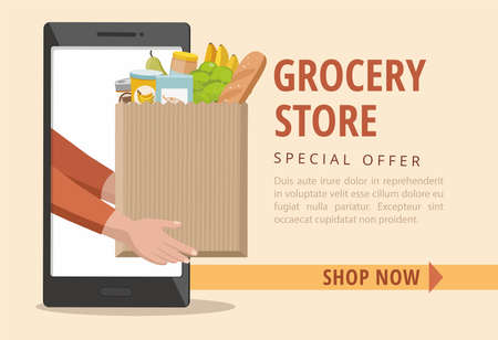 Man holding a paper bag with food. Food delivery service. Online order. Vector banner