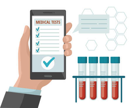 Hand holds mobile phone with medical app. Test tubes with blood test. Vector