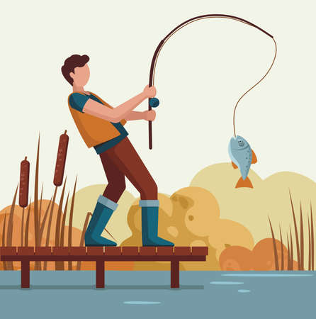 A man caught a fish on the lake on a wooden pier. Fisherman.