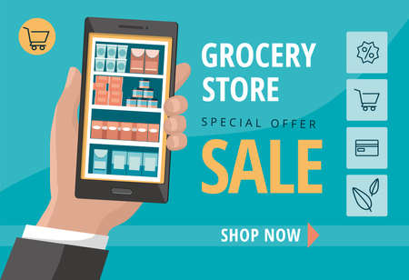 Food and grocery online shopping application on smartphone screen. Online order with mobile app..