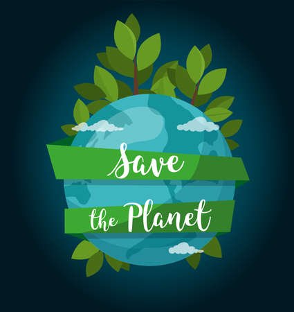 Save the Planet concept. Environment poster. Earth globe isolated on space background.