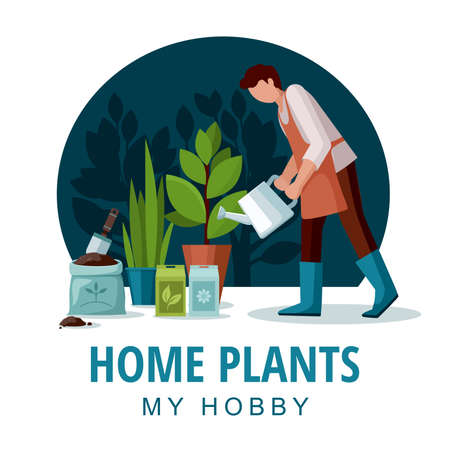 Gardener watering flowers. House plants with green leaves in pots. Vector Illustration