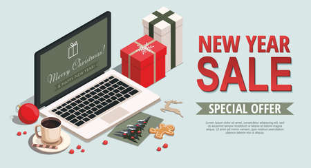 New year and Christmas background with gifts, laptop, cookies, greeting card and Christmas toys. 3D isometric sale Illustration