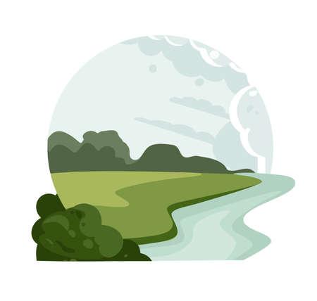 Landscape logo. Valley River icon. Vector