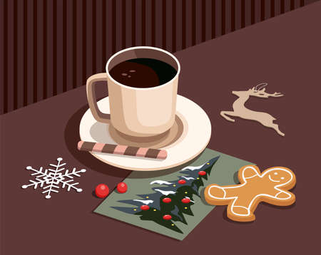 Coffee cup and christmas decoration on table background. Homemade gingerbread cookies, christmas tree greeting card and snowflakes. 3D isometric Illusztráció