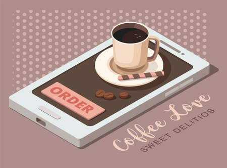 Black coffee in cup on mobile phone. Coffee ordering concept. Template for coffee shop or cafe. Illusztráció