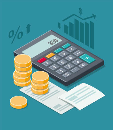 Financial planning with coins, calculator and cash receipt isolated on a blue background. Isometric illustration