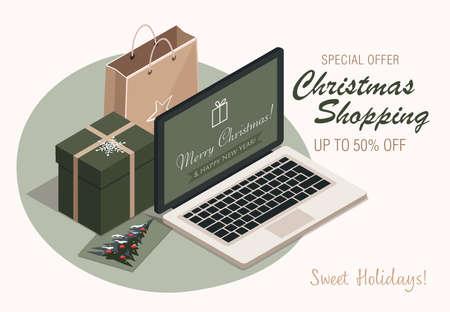 Christmas shopping, laptop, gift box and kraft bag. Vector Illustration Иллюстрация