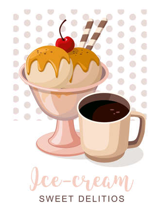 Ice cream and coffee card. Sweet food dessert. Flyer, banner shop. Vector Illustration Иллюстрация