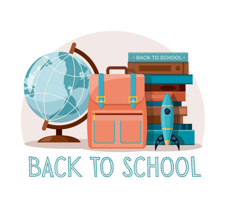 School supplies. Back to school, education background. Globe, books and school bag on white background.