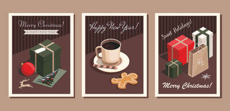 Set of three card Merry Christmas and Happy New Year.  Coffee cup, gingerbread cookie, christmas tree greeting card and gifts. Vector Template