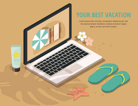 Summer Vacation and Tourism. Laptop, sun block and flip-flops on sandy beach. 3d Isometric illustration