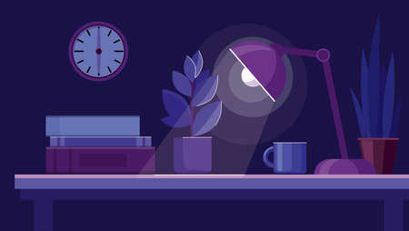 Workplace with books, plant and lamp on the table. Dark blue background. Night office room. Vector