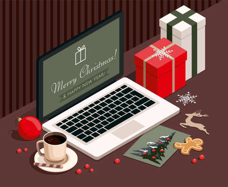 New year and Christmas background with gifts, laptop, cookies, greeting card and Christmas toys. 3D isometric Illustration.