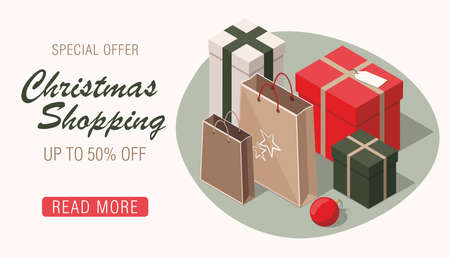 Christmas shopping. Gift boxes, kraft paper and red ball.  3D isometric sale banner. Illusztráció