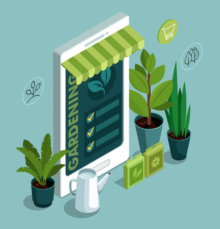 Gardening Tools, plants and mobile phone. Online garden shop concept. 3d isometric illustration.