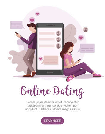 Male and female chatting on the Internet. Online Dating service. Virtual relationships concept. Vector Illustration 向量圖像