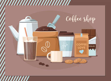 Coffee shop composition. Coffee beans in the package, takeaway cup, mug, and chocolate. Vector