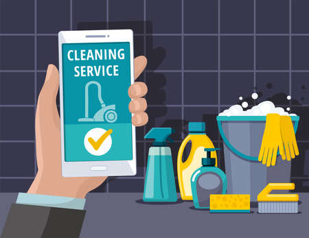 Cleaning supplies. Spray, spong, brush, bucket. Cleaning service web banner.