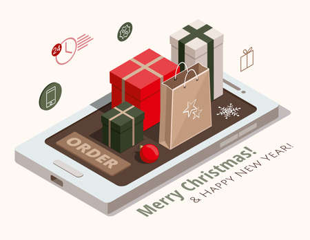 Christmas shopping. Gift boxes, kraft paper and red ball on mobile phone. 3d isometric illustration.