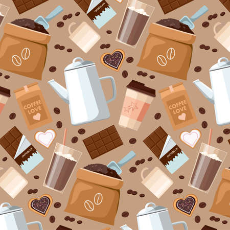 Pattern of coffee beans, cups, Cezve, coffee to go, package or fabric cover, chocolate, cocoa and cookies.