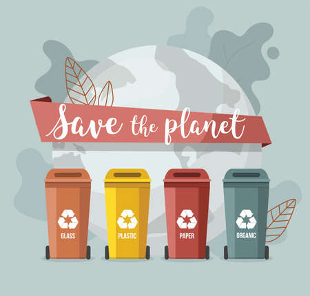 Waste sorting. Trash containers. Save the planet template