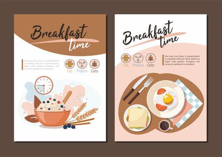 Breakfast Poster. Menu restaurant food template Vector Illustration
