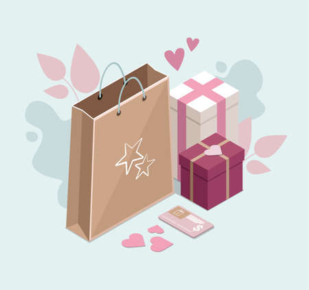 Happy Valentines Day. Gifts and paper bag. Isometric Illustration