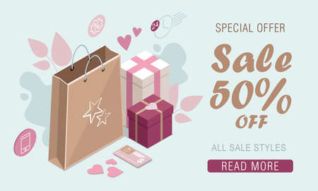 Happy Valentine s Day. Gifts and paper bag. Isometric sale banner Illusztráció