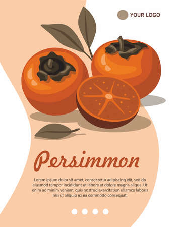 Persimmon and slice with leaves greeting card template. Illusztráció