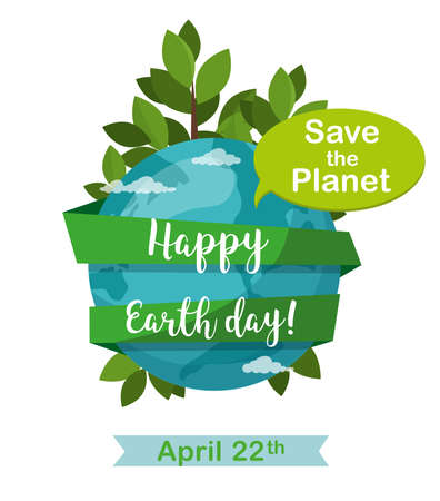 Happy Earth Day greetting card. Earth globe isolated on white. April 22.
