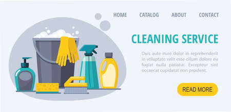 Cleaning service web banner. Spray, spong, brush, bucket. Иллюстрация
