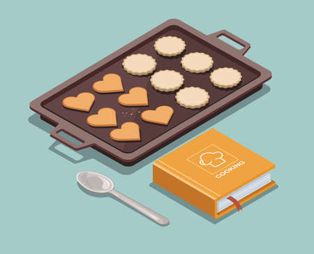 Baking sheet with cookies, recipe book and spoon